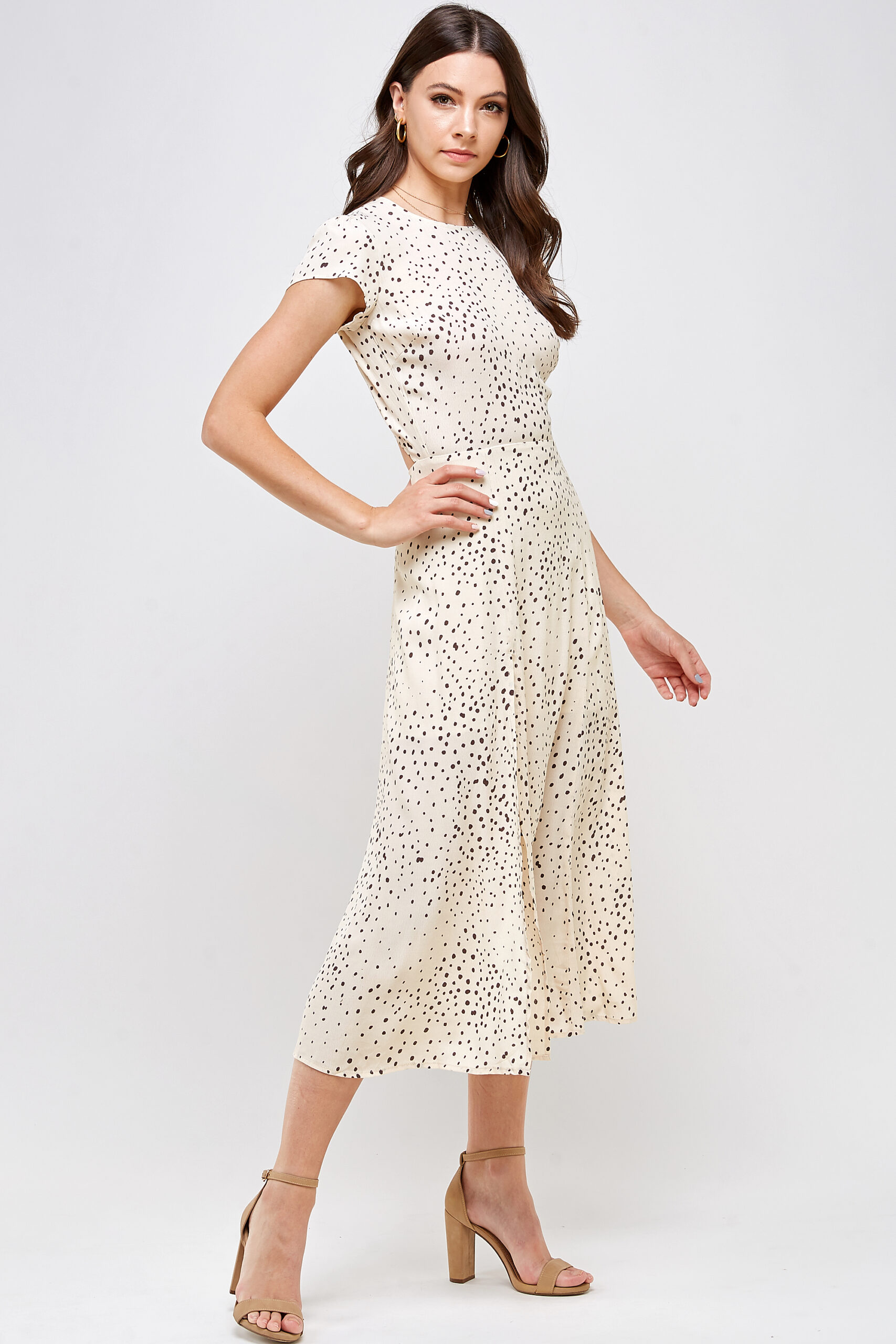100% Rayon Open Back High Leg Slit Cap Sleeves 3/4 Front View