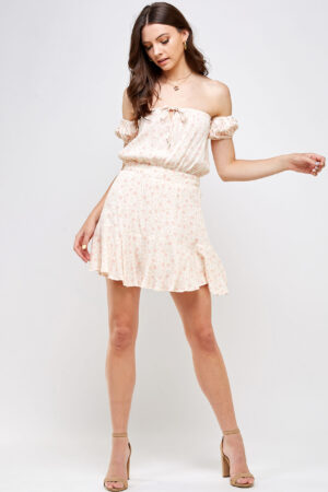 100% Rayon Off Shoulder Smocked Waistband Ruffle Detail on Skirt Front View Main